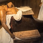 Marat waxwork in the actual bath in which he was stabbed