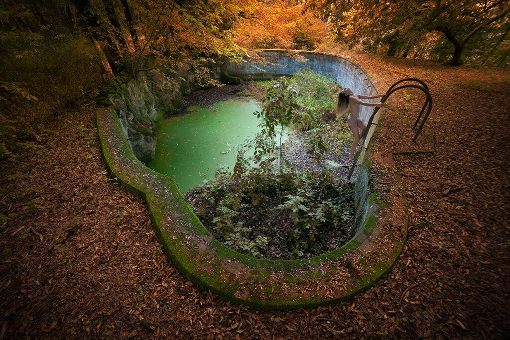 girl in abandoned pool